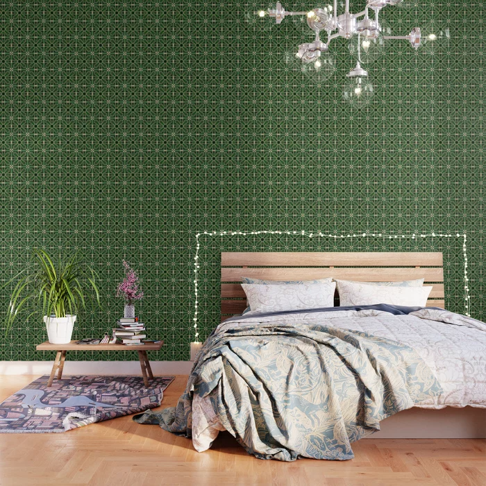 Art Deco Floral Tiles In Emerald Green And Faux Gold Wallpaper Green Wallpaper Plaid Wallpaper Stripe Line Wallpaper