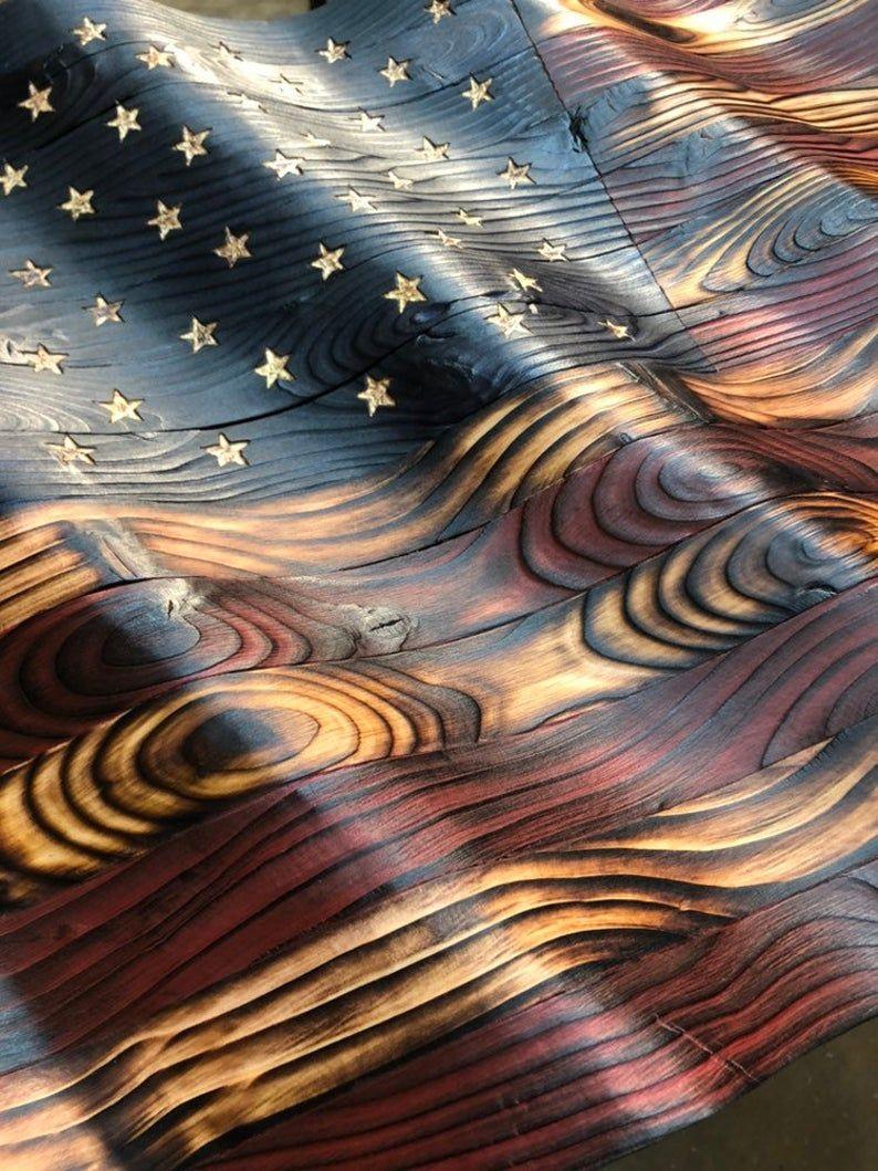Waving Wood American Flag #americanflagart