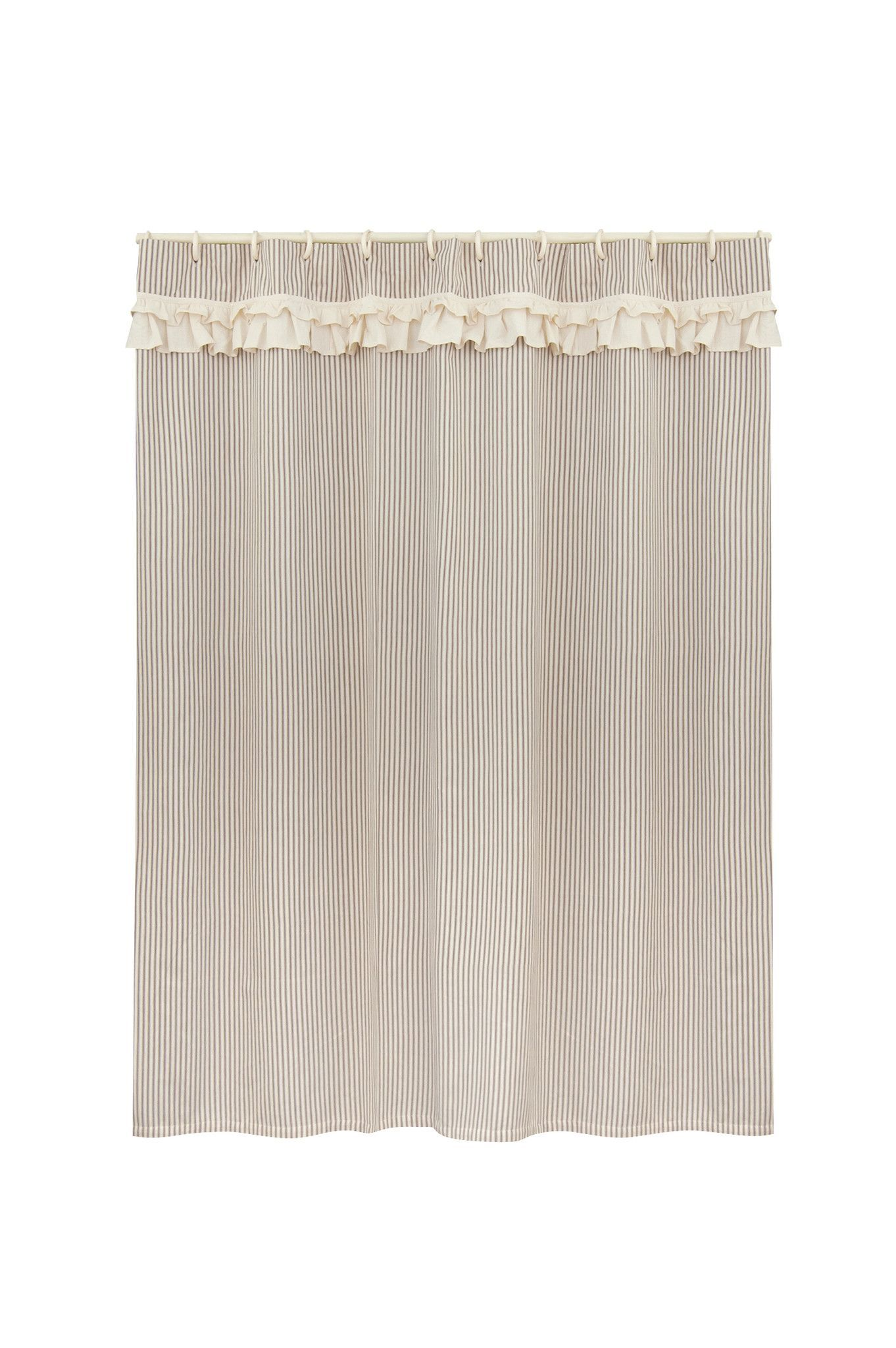 A Wonderful Addition To The Bath Our Downton Village Shower Curtain Combines A Classic Ticking Stripe With A Muslin