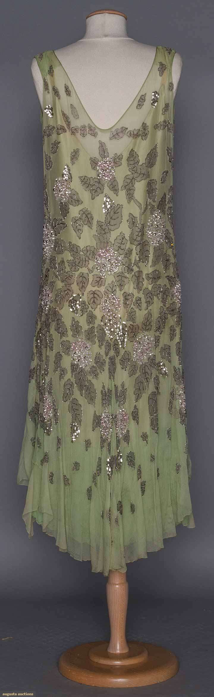 1920s BEADED GREEN EVENING DRESS. Pale mint chiffon, floral & leaf embroidery w/ silver sequins & blush pink barrel beads, multi-layered chiffon under dress. Back