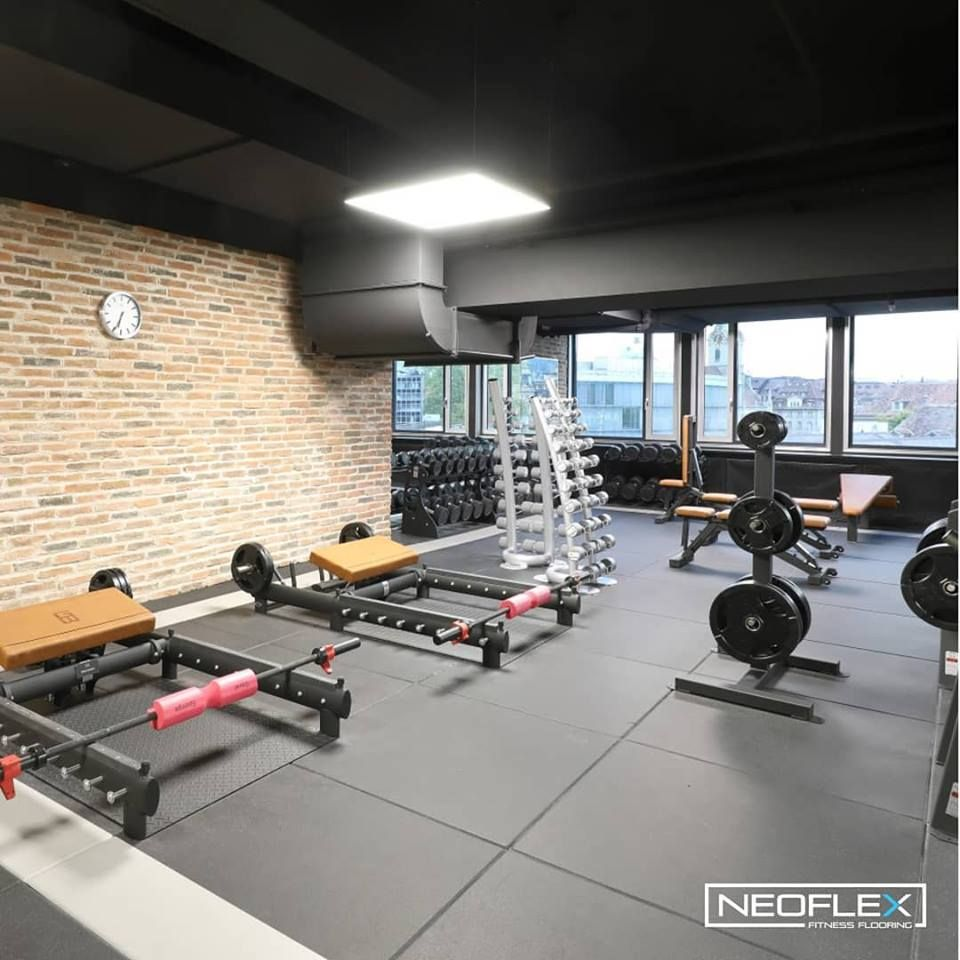 Neoflex Premium Gym Tiles At The First Only Fitness In Bern Switzerland Gym Flooring Gym Flooring Rubber Floor Finishes