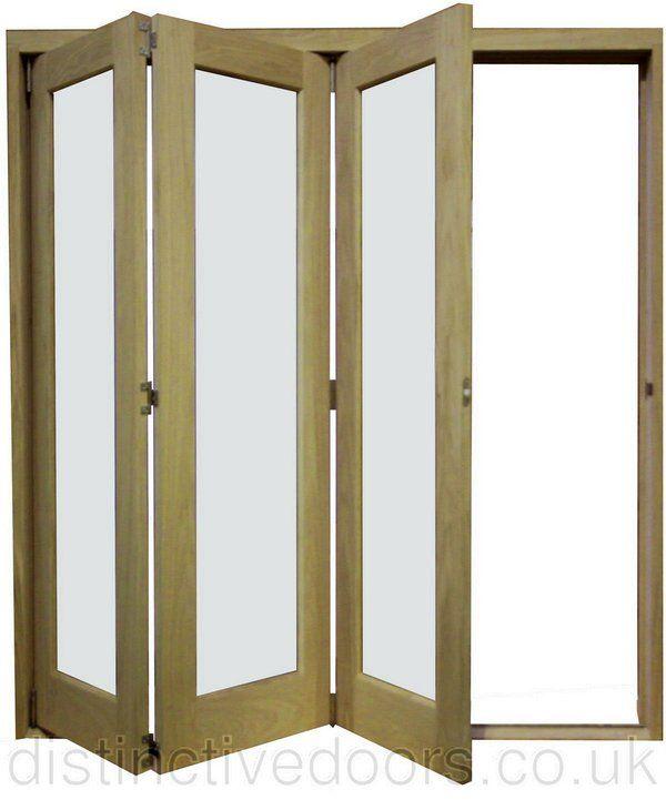 derwent slide aside clear glazed oak room divider 3 door set
