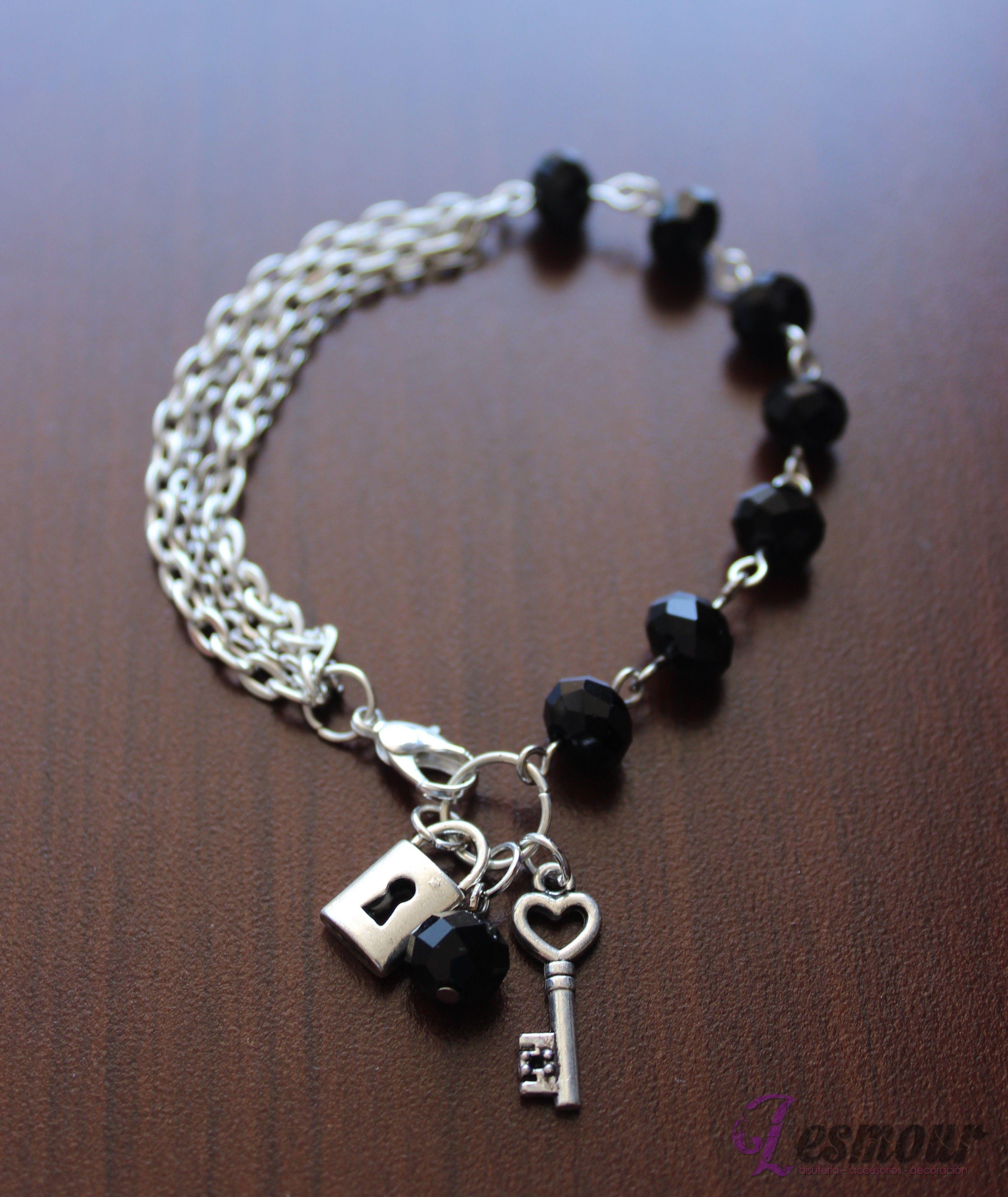 3bb621f77779 pulseras de bisuteria ... Pulsera cristal chino negro .