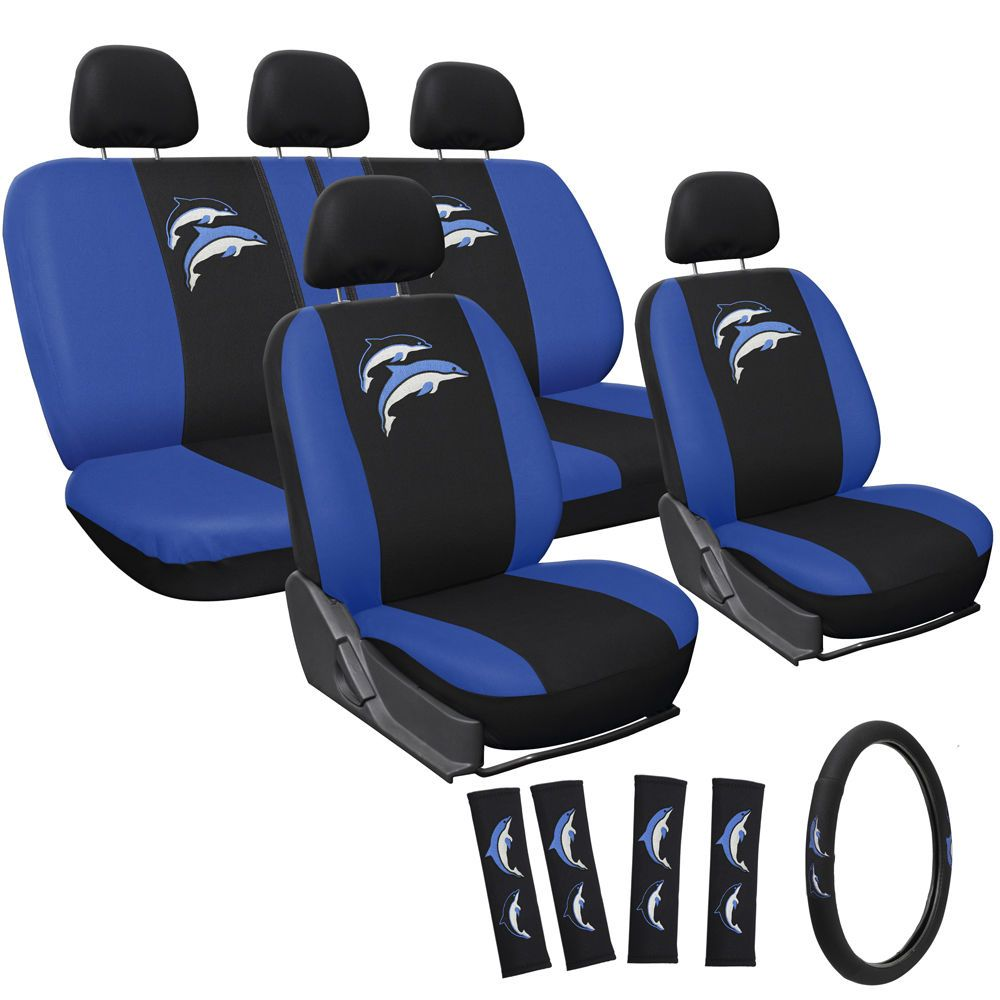 Suv Van Truck Seat Cover Embroidered Blue Dolphin Logo 17pc Set W Bench Black Covers Autozone Full Size Saddle