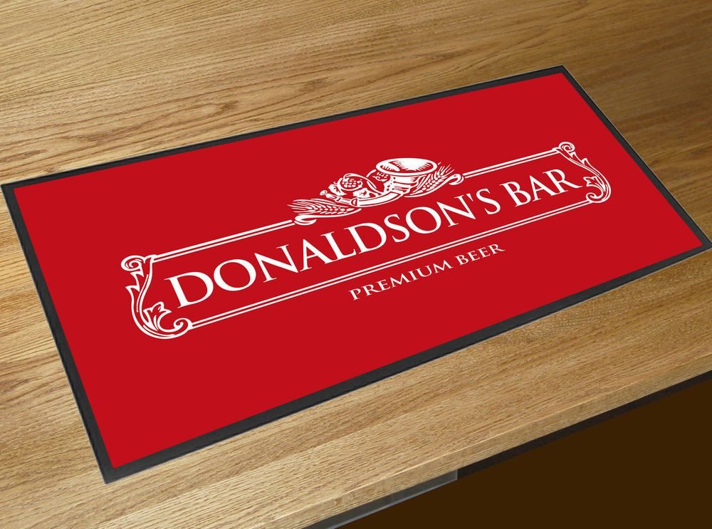 Personalised White Beer Label Red bar runner home bar