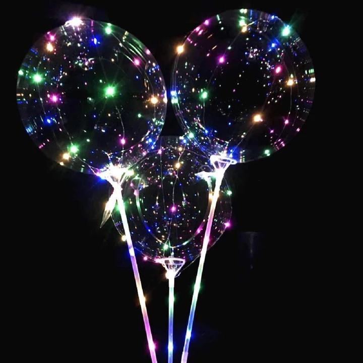 "20/"" LED Light Up Bobo Balloon Transparent Wedding Birthday Xmas Party Decor Lamp"