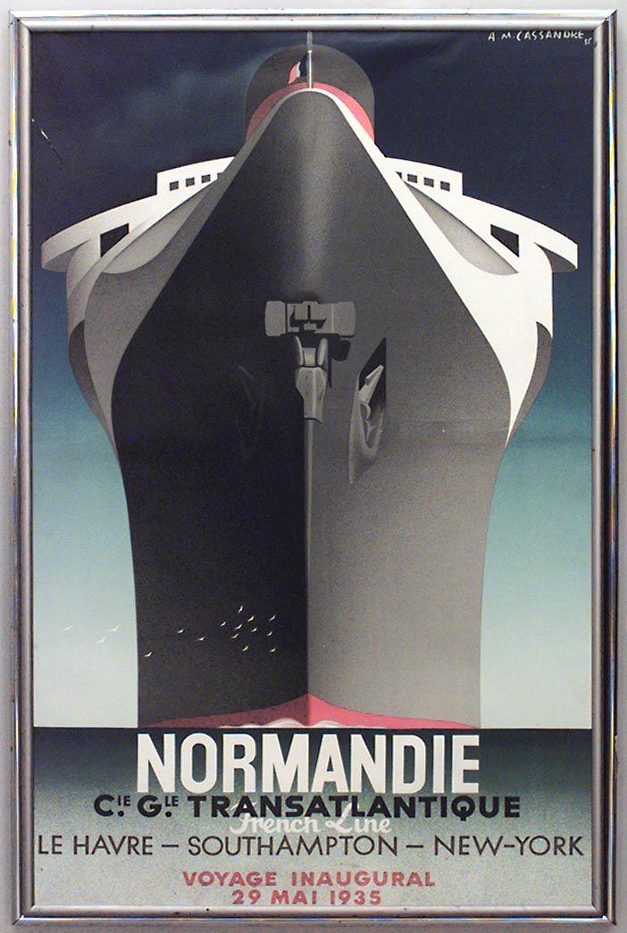 Art deco normandie lithograph   Art deco posters, Vintage posters, Travel  posters
