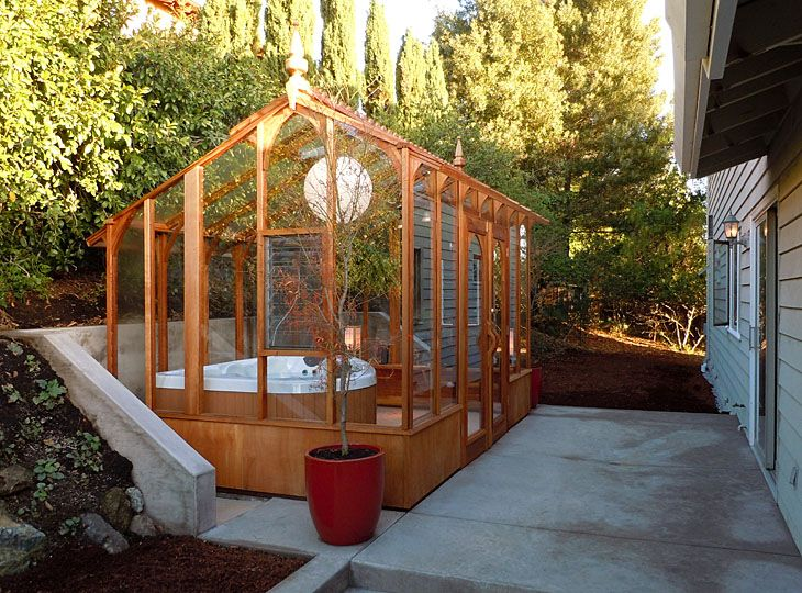 Hot Tub Solarium Made From Greenhouse Kit Http Www