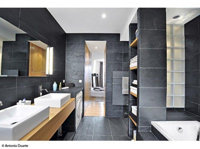 Ardoise et bois salle de bain b ton cir pinterest for Salle de bain bois et beton