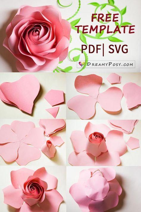 Riesenrose kostenlose Vorlage und Tutorial #paperflowers #flowertemplates #flowertuto … - selbermachen deko #easypaperflowers