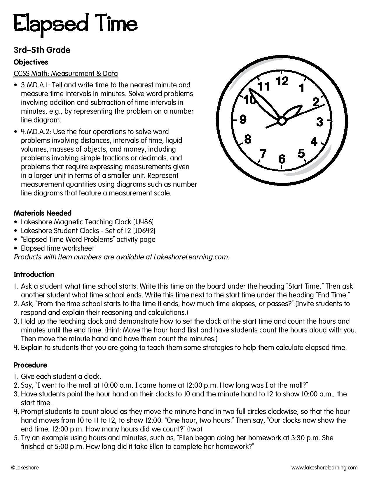 Elapsed Time Lessonplan