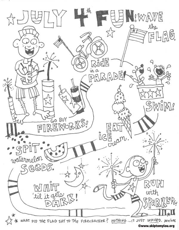 Printable Fourth Of July Coloring Page A Great Way For Kids To Take Break From The Sun Relax And Color
