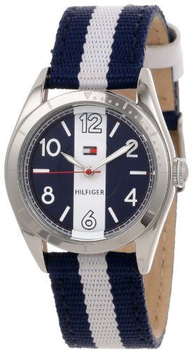 tommy hilfiger women 39 s 1781295 casual sport blue and white nylon strap 3 hand watch. Black Bedroom Furniture Sets. Home Design Ideas