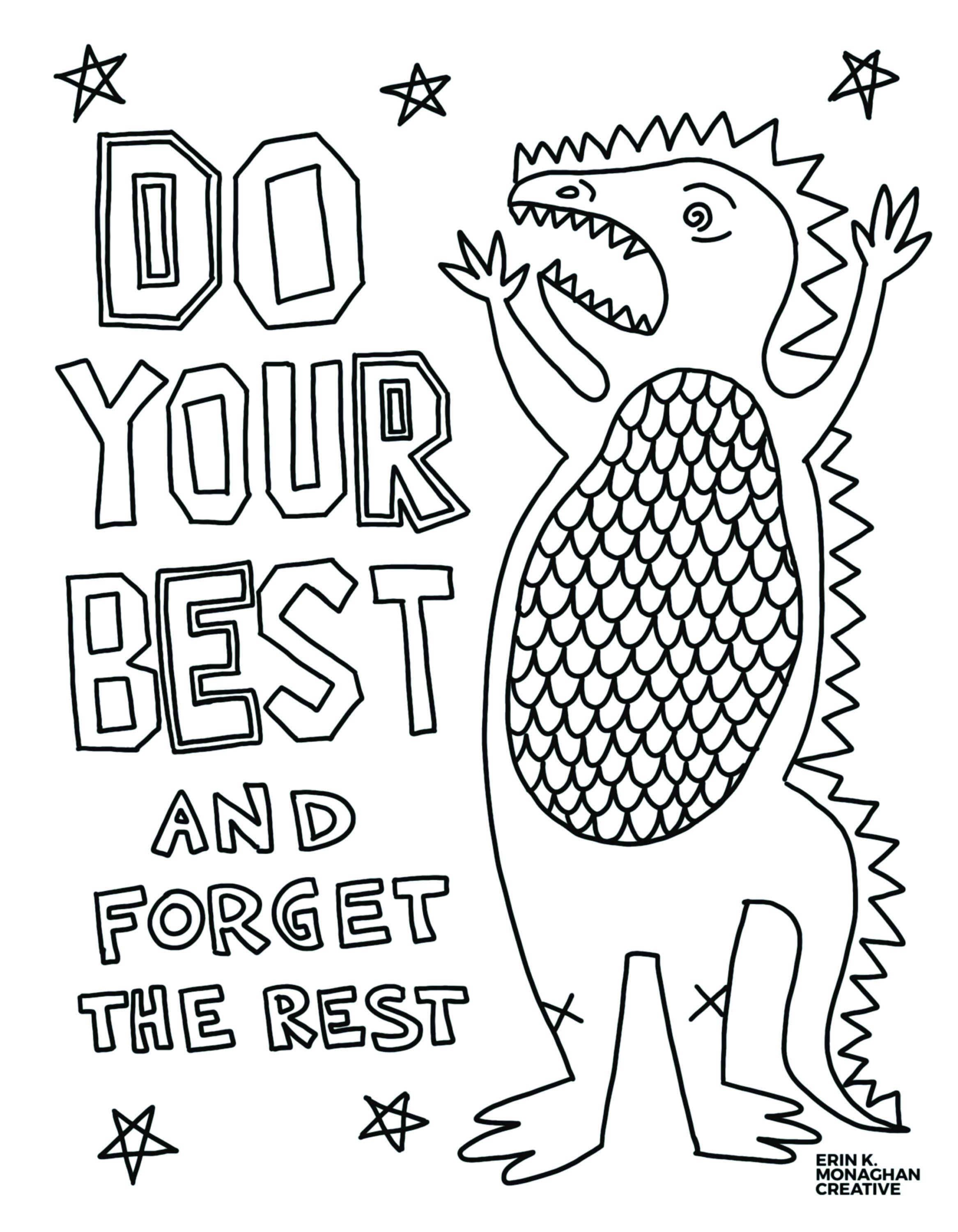 Do Your Best Dinosaur Coloring Sheet Growth Mindset For