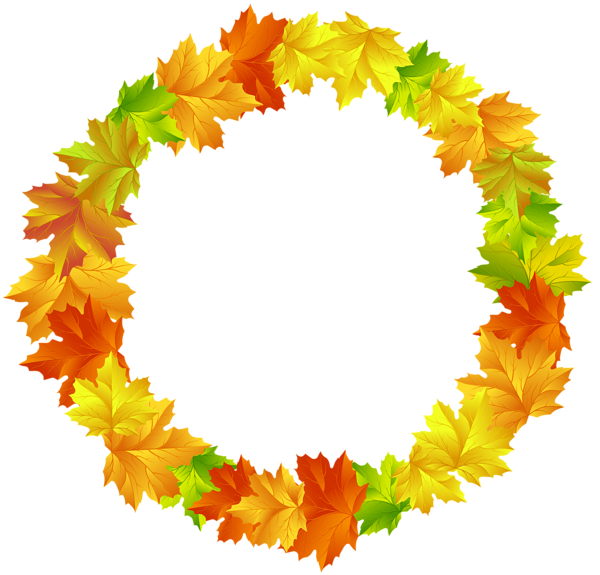 Fall Leaves Round Border Frame Png Clip Art Image Autumn Leaves Clip Art Art Images