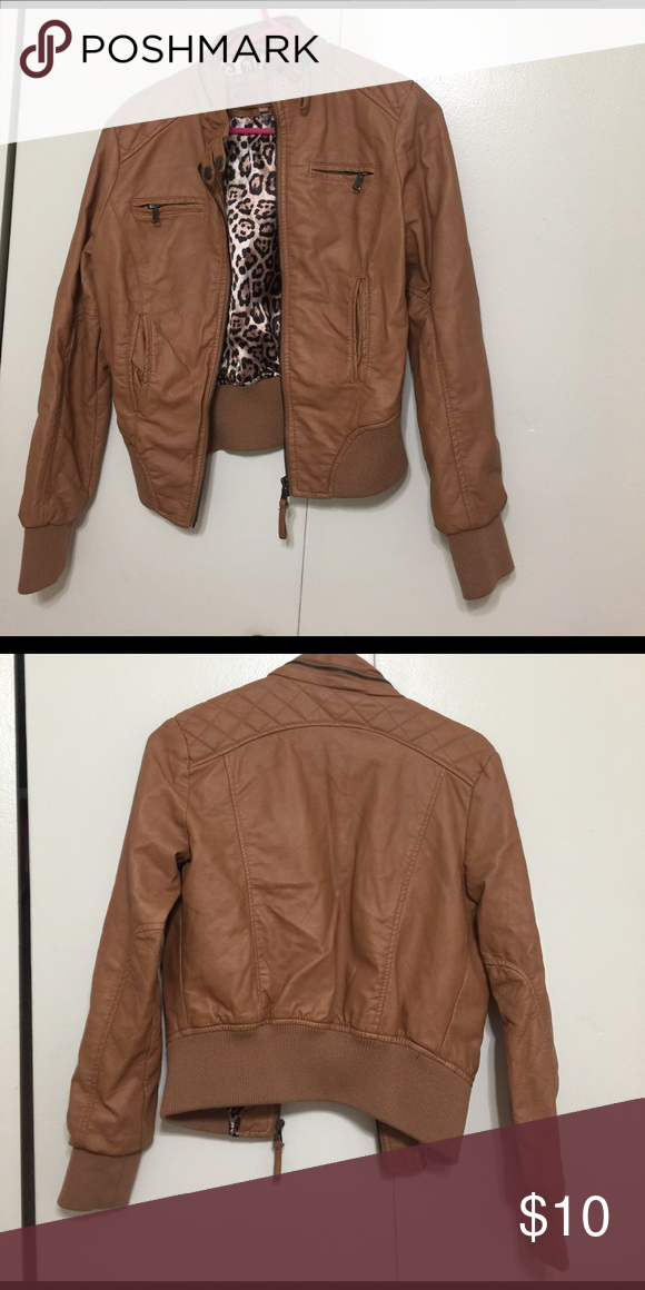 1c2abfa23 Camel colored bomber jacket Faux leather Jackets & Coats Utility ...