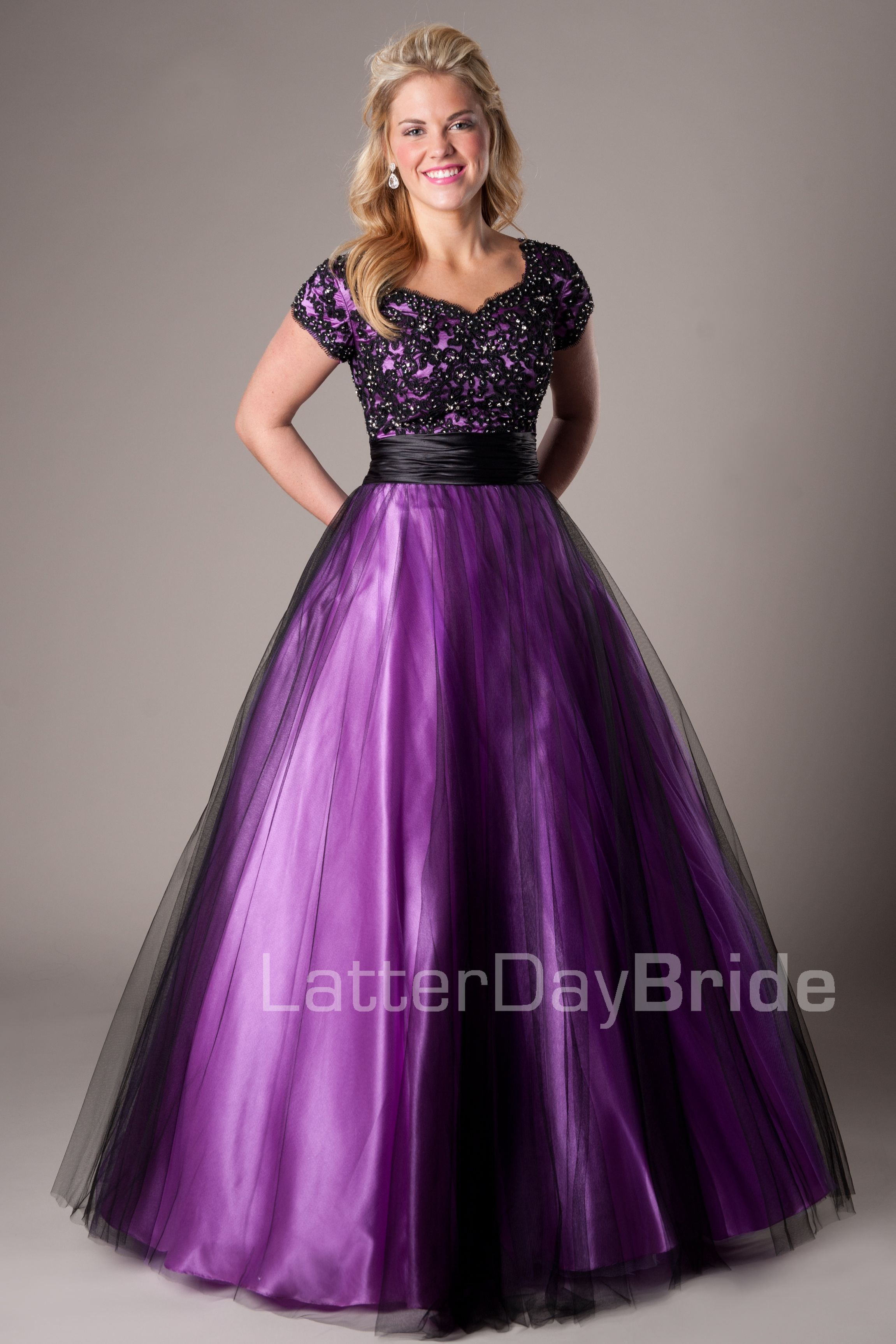 Blake modest mormon lds prom dress modest prom dresses modest ball gown purple satin black tulle lace prom dress with sleeves homecoming dresses 2018 ombrellifo Gallery