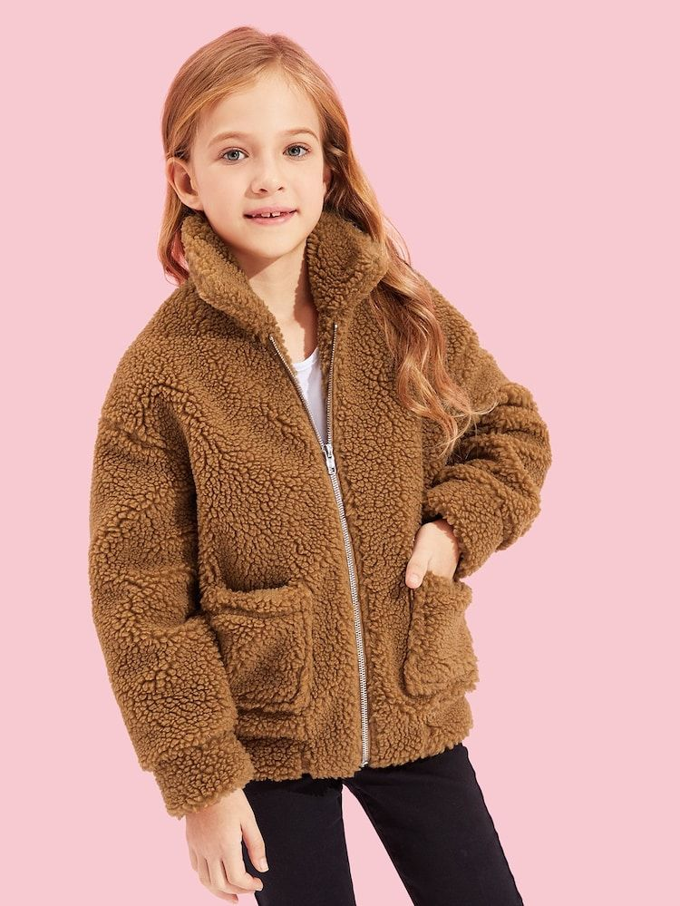 Girls zip up faux fur pocket front teddy jacket with