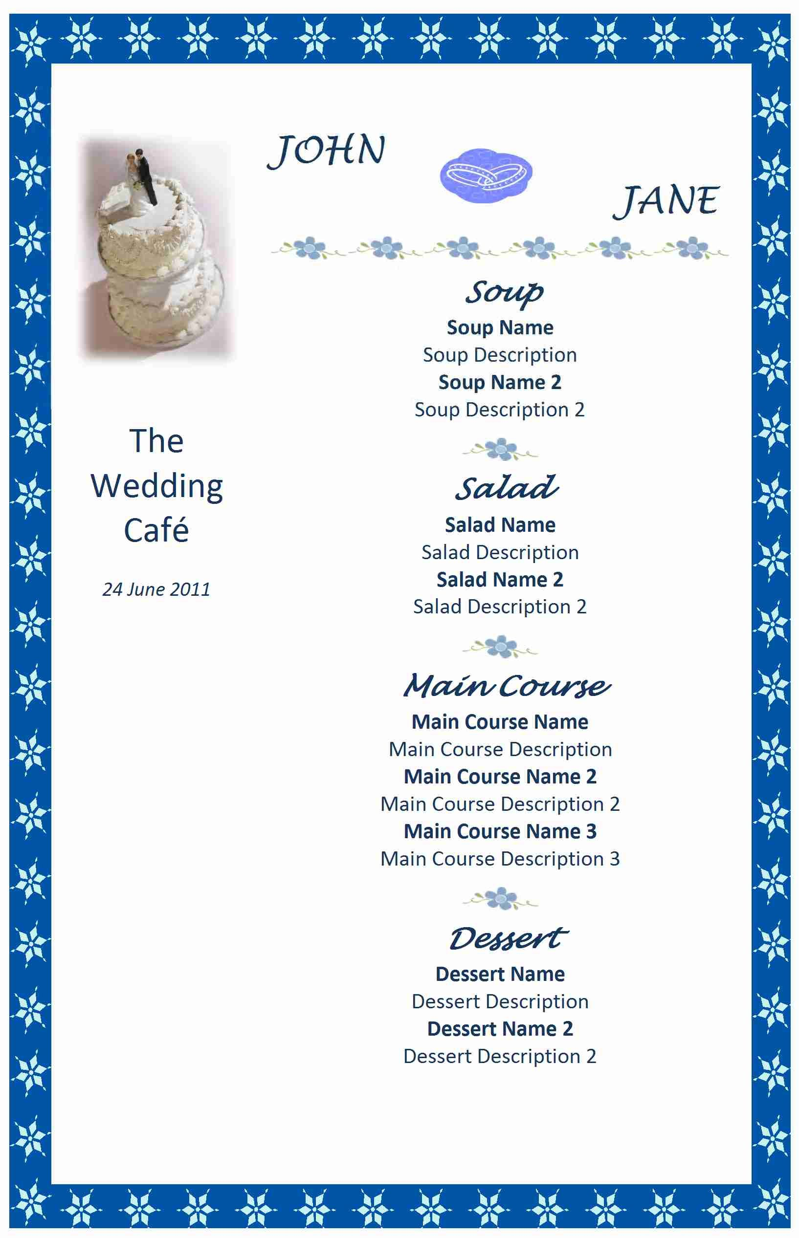Wedding Menu Templates Free Microsoft Word Click Here For A Free