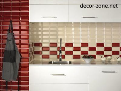 Red And White Kitchen Backsplash Tile Ideas