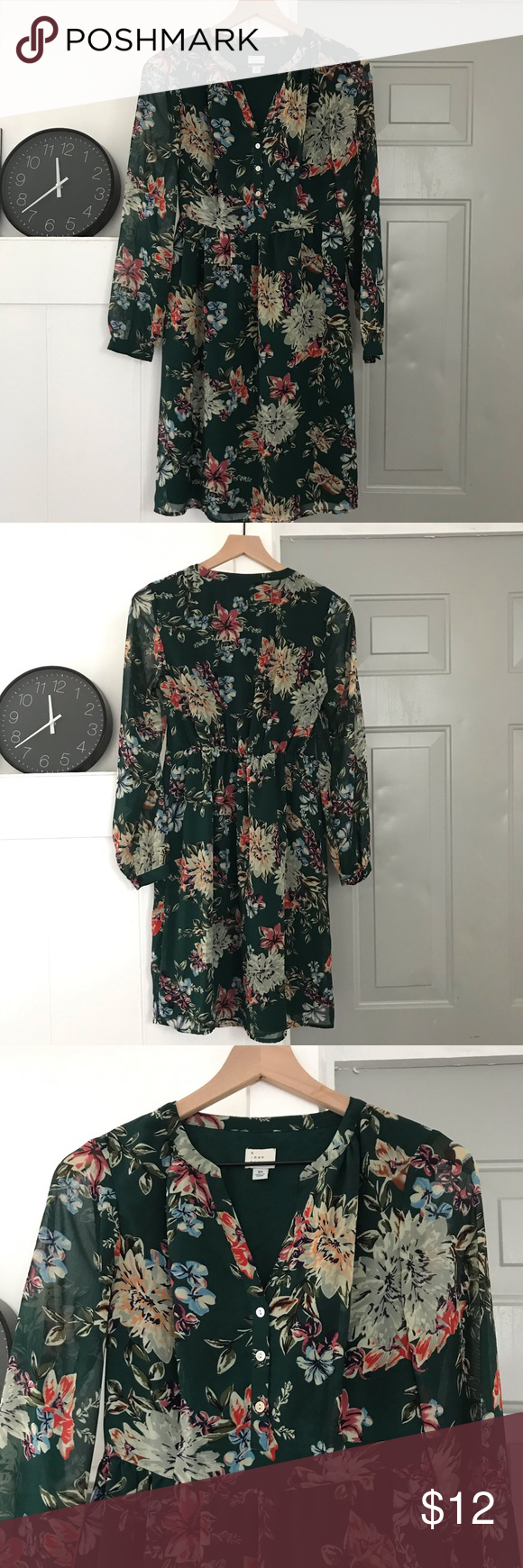 Target A New Day Floral Green Dress Really Cute Green Floral Long Sleeve Dress From Target Bought In Wi Long Sleeve Floral Dress Green Floral Dress Green Dress [ 1740 x 580 Pixel ]