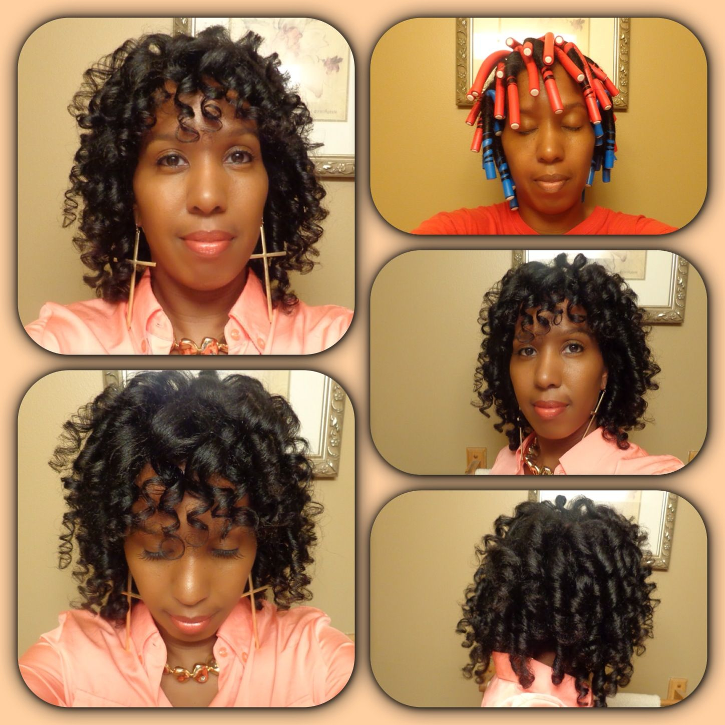 Flexi Rod Curls On Natural Hair Natural Straight Hair Natural Hair Diy Beautiful Black Hair
