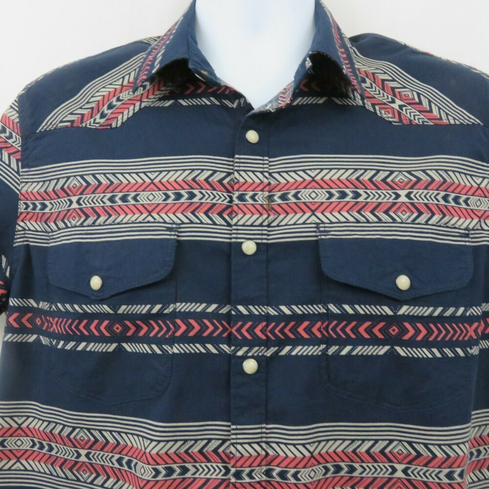8be88c5c Lucky Brand Mens M Southwest Navy Blue Pearl Snap Western Shirt SS Cotton  Blend #LuckyBrand #Western
