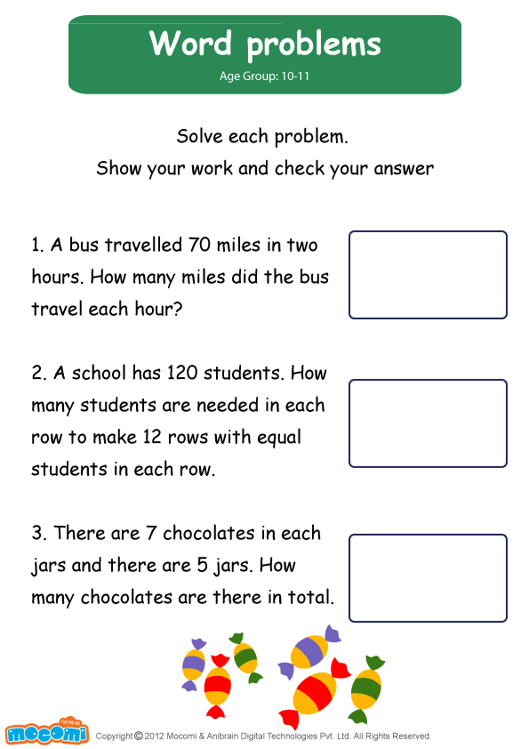 Word Problems Math Worksheet for Kids For more interesting – Work Word Problems Worksheet