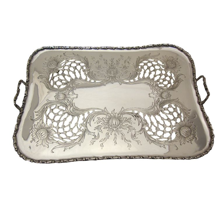 Chrysanthemum Sterling Silver Asparagus Platter. Antique CupboardVintage ... - TIFFANY & CO. Chrysanthemum Sterling Silver Asparagus Platter