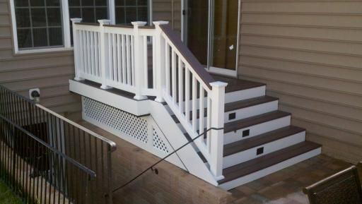 trex deck landing steps lights white vinyl rails wrap trim ...