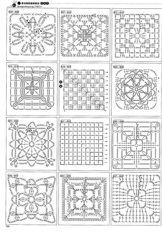 A lot of crochet patterns Ganchillo Crochet Patrón Esquema Diagrama ...