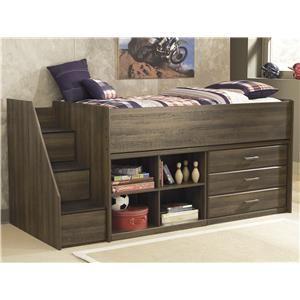 Signature Design By Ashley Juararo Twin Loft Bed With Left Storage Steps B251 13l 68t 17 19 B100 11 Low Loft Beds Twin Loft Bed Kids Loft Beds