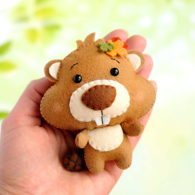 Squirrel Plushy Handmade Beaver Doll Soft Toys for Babies Woodland Nursery Theme Cute Stuffed Animal Beaver Plush Toy Baby Shower Gift
