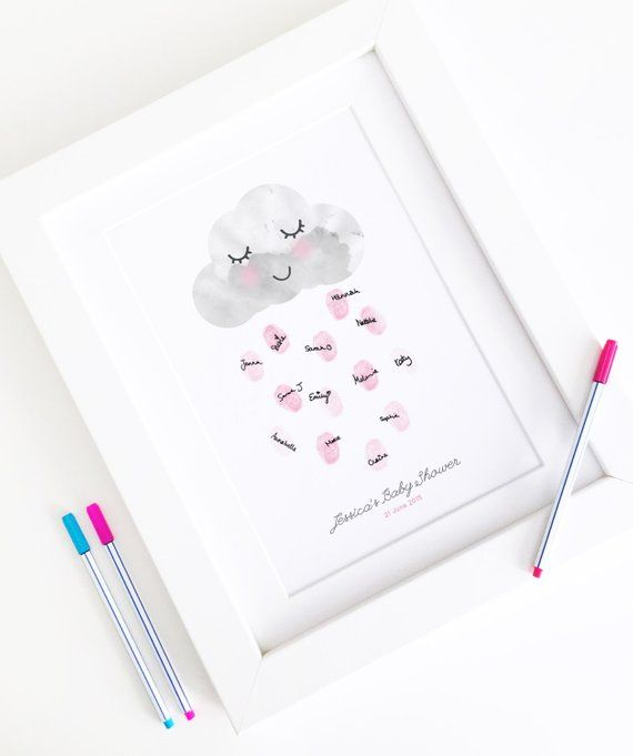 Personalised Baby Shower Fingerprint Guest Book - Happy Little Rain Cloud - Nursery Decor Print - A4 Size #eyeshaveit