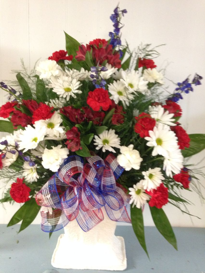 Red White And Blue Basket Funeral Pieces Pinterest Sympathy