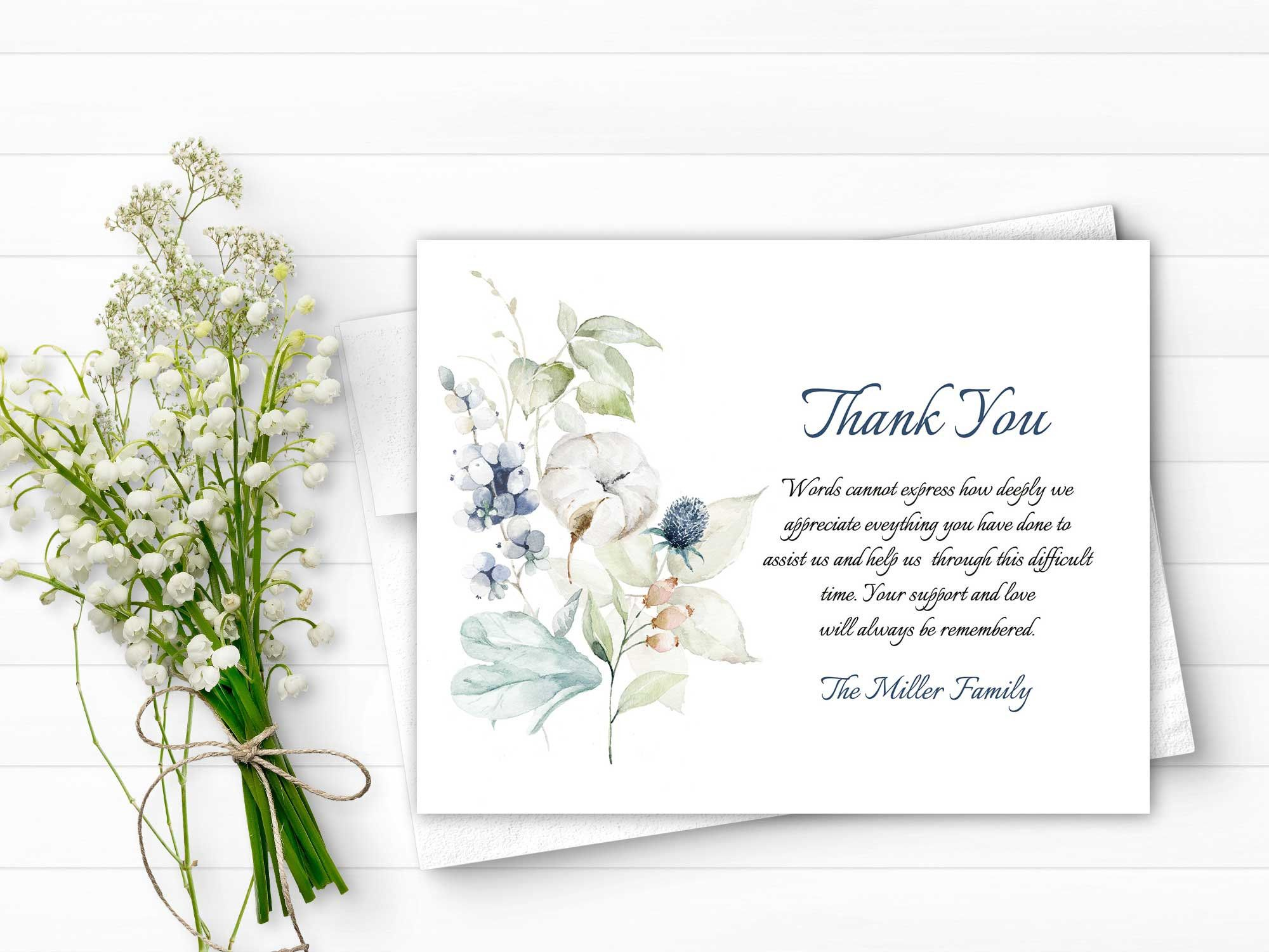 Sympathy Acknowledgement Cards Funeral Thank You And Etsy Funeral Thank You Funeral Cards Printed Cards