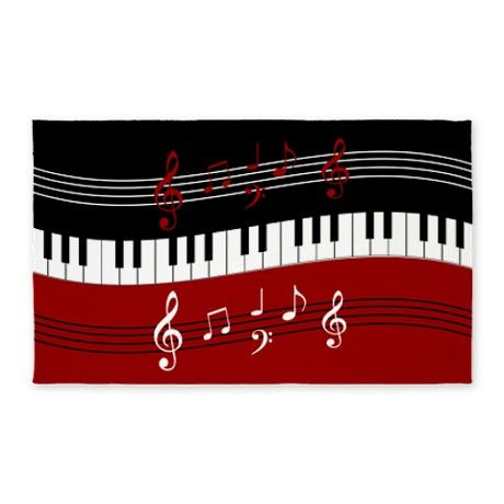 a17bb9b3ea46 Stylish Piano keys and musical notes 3'x5' Area Ru | Liam music room ...