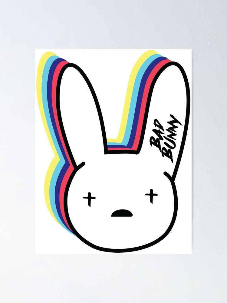 Bad Bunny Logo Poster By Danielardzg In 2020 Bunny Logo Bunny Painting Bunny Wall Art