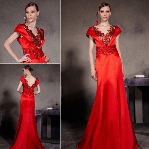 NEWスタイル! サテンレッドが美しい高級ロングドレス♪ - ロングドレス・パーティードレスはGN|演奏会や結婚式に大活躍!