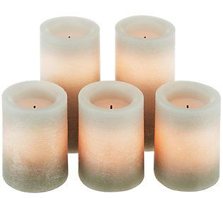 Qvc Flameless Candles Adorable Set Of 5 Candle Impressions Rustic Ombre Flameless Candles Wtimer Inspiration