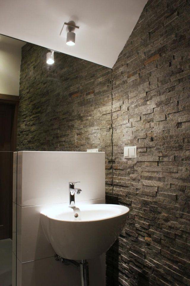Kleines Bad Einrichtung Idee Natursteinwand Fliesen Spiegelwand Kleines  Waschbecken