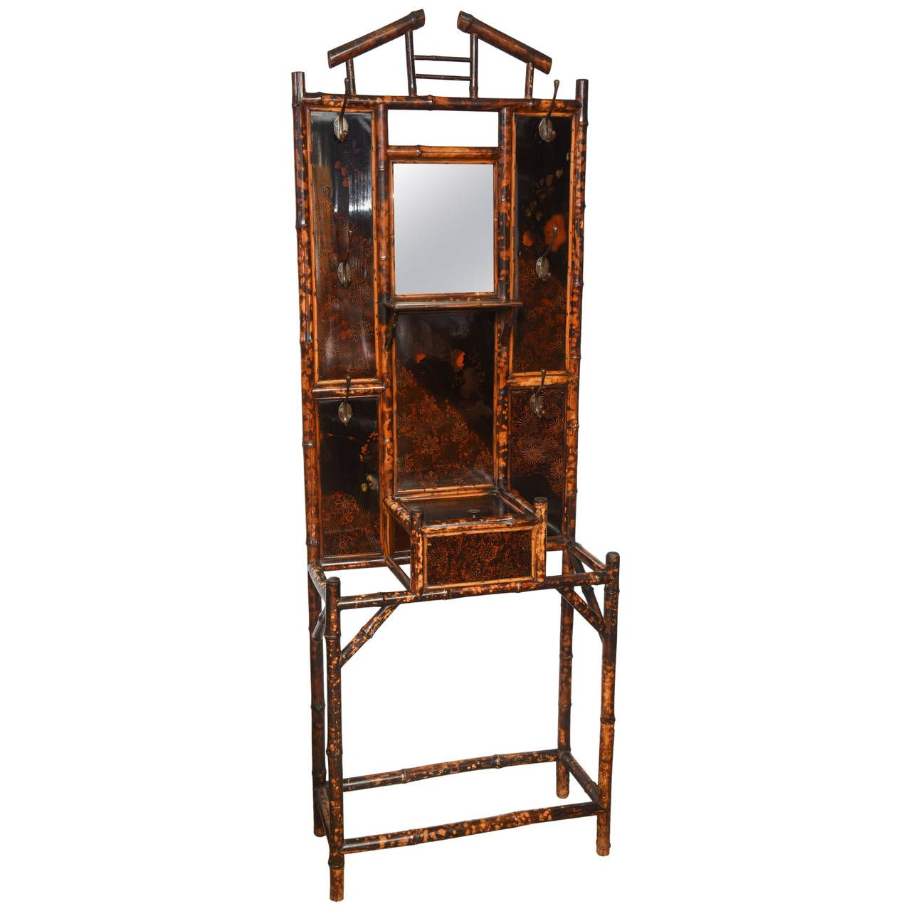 English 19th Century Laquered and Mirrored-Back Bamboo Etagere ...