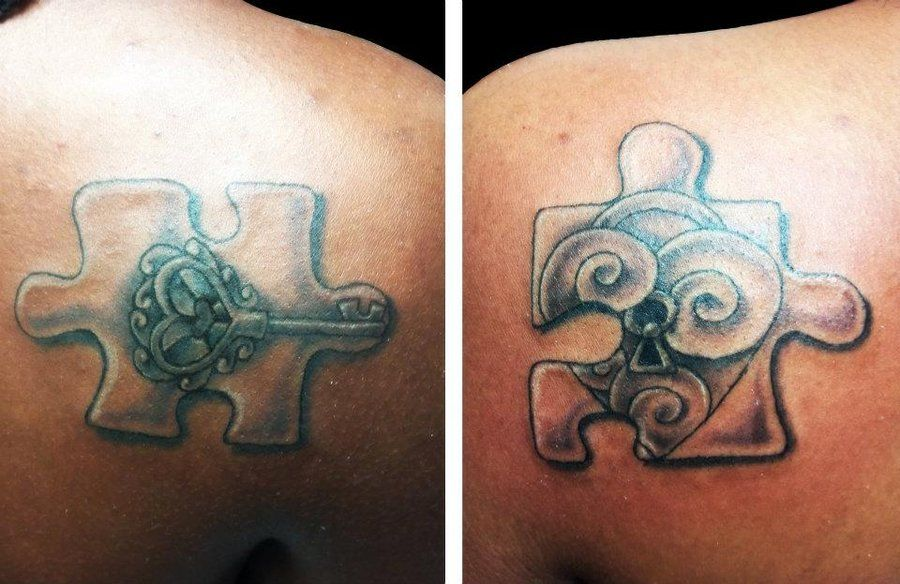 puzzle pieces tattoos with cheata print | lock + key puzzle pieces