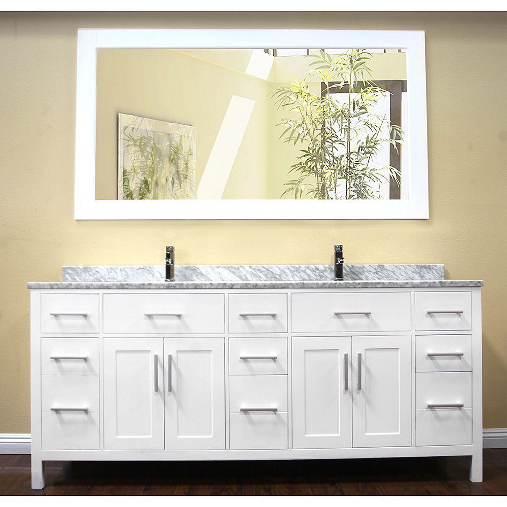Design Element London 78 Modern Double Bathroom Vanity With White