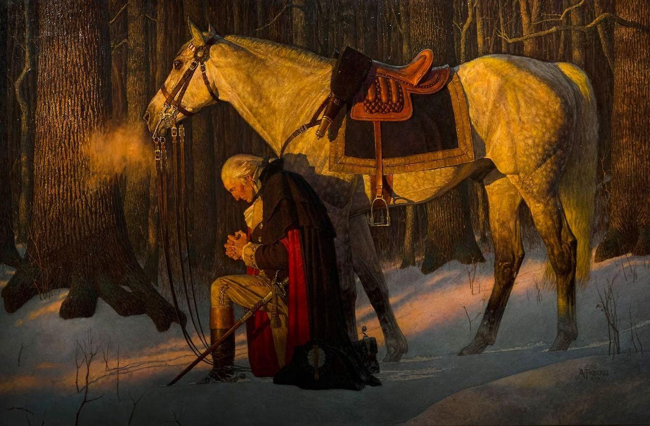 Washington Praying At Valley Forge, Arnold Friberg, SHEAR [in-spuh-rey-shuhn]   George washington, History, American  history