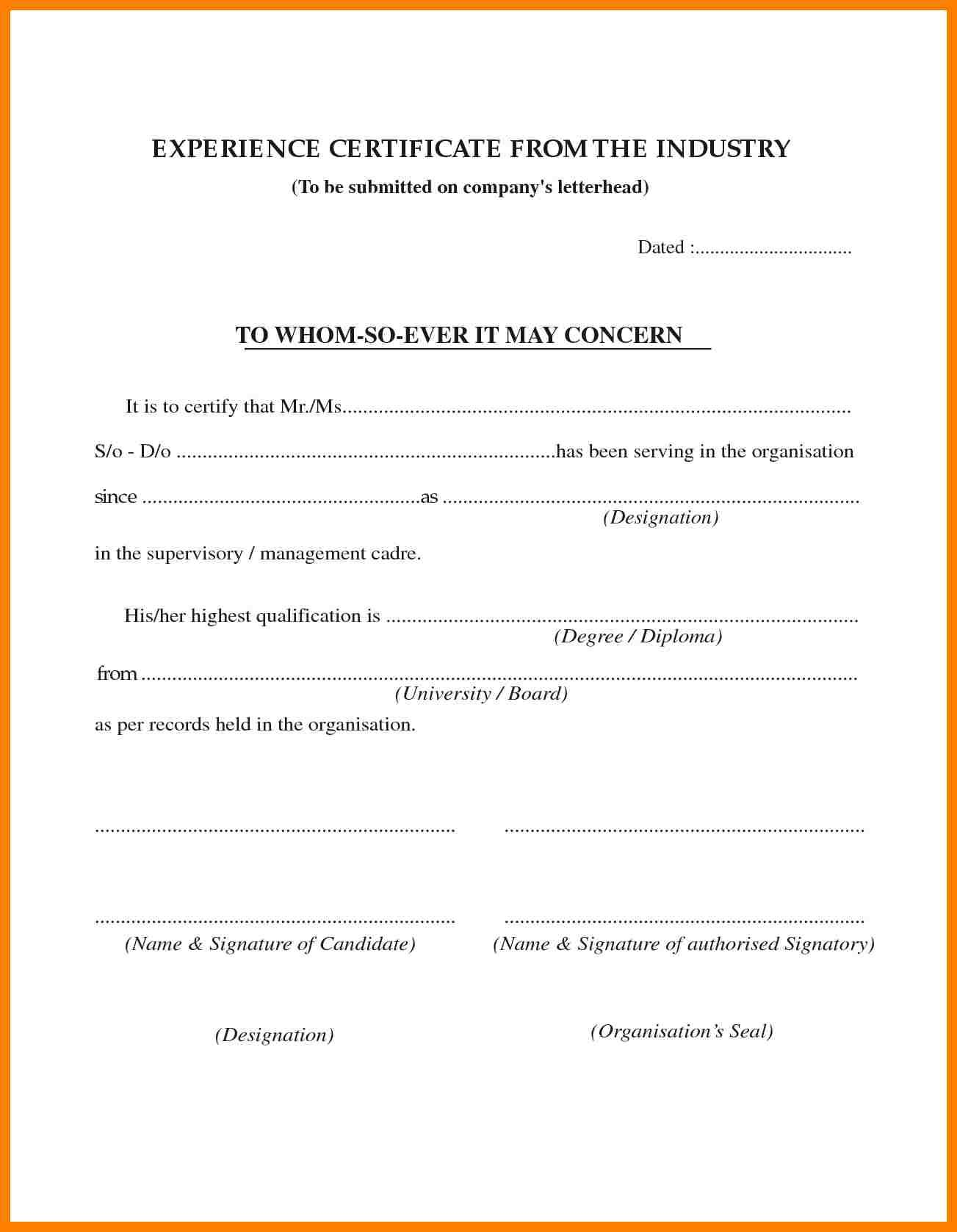 Job Experience Certificate Format Hr Letter Formats Pinterest
