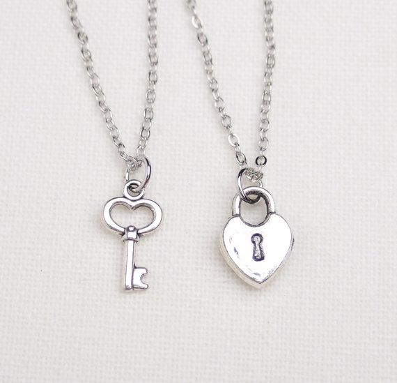 51de991901 2 best friend lock and key necklaces, set of two, key to my heart necklace, friendship  necklaces,gift for couple,his and hers jewelry,sister on Etsy, $20.00
