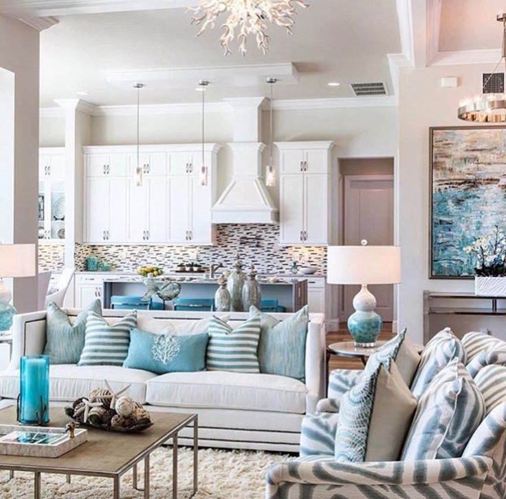 Pretty Beach Style Living Rooms With Touches Of Turquoise | Living Rooms,  Turquoise And Beach