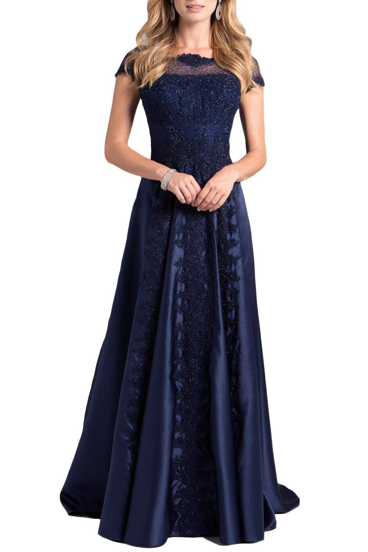 Promstar women navvy cap sleeves floor length applique prom dresses