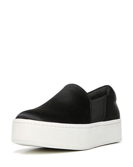 Vince. Woman Satin Platform Slip-on Sneakers Navy Size 38.5 Vince 3vz8M